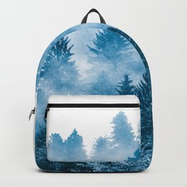 Blue Foggy Forest Adventure #46 Backpack