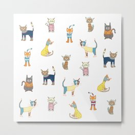 Cats in sweaters Metal Print