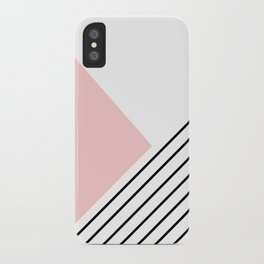Pink angles and stripes iPhone Case