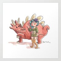 Elfe et son dragon Art Print