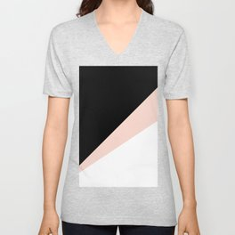 Elegant blush pink & black geometric triangles Unisex V-Neck