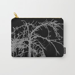 Creepy tree silhouette, grey on black Carry-All Pouch