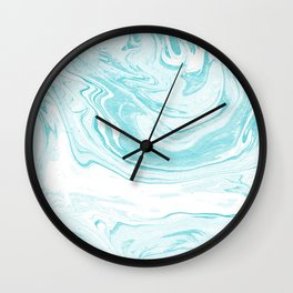 Giro - spilled ink abstract marble watercolor japanese painting marbling unique mint pastel  Wall Clock