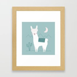 Alpaca In The Mountains Framed Art Print