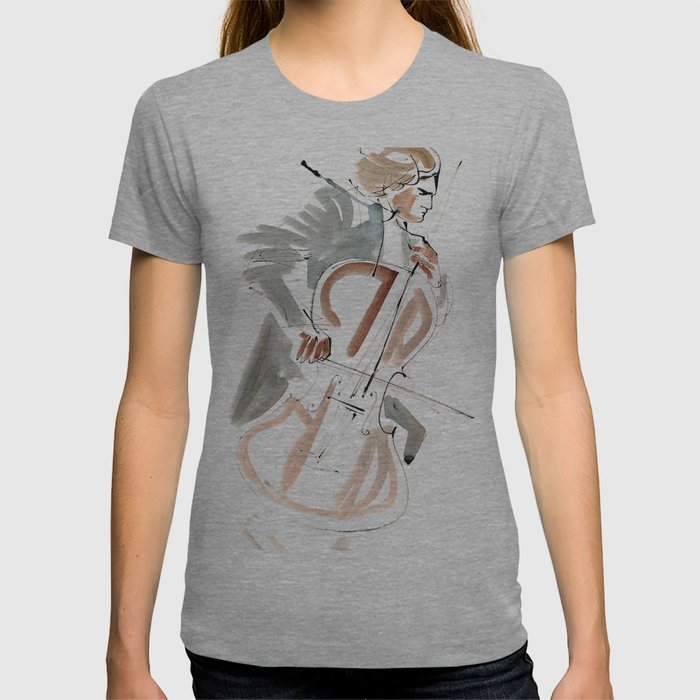 Cello Player Musician Expressive Drawing T-shirt