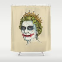 queen Shower Curtains featuring God Save the Villain! by Enkel Dika