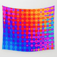 hippy Wall Tapestries featuring Hippy Trippy Pattern by Kirsten Star