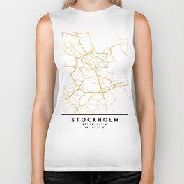 STOCKHOLM SWEDEN CITY STREET MAP ART Biker Tank