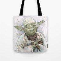 yoda Tote Bags featuring Yoda  by Olechka