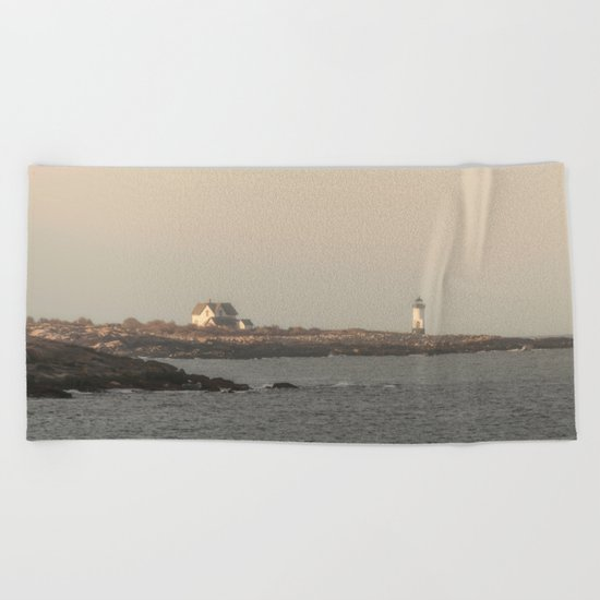 Hazy Straitsmouth lighthouse Beach Towel