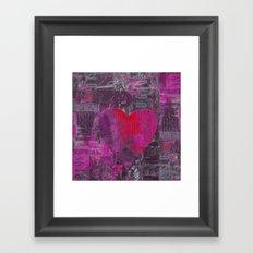 Passion red purple heart mixed media art Framed Art Print