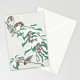 Christmas card Detail Sparrows in snow Stationery Cards