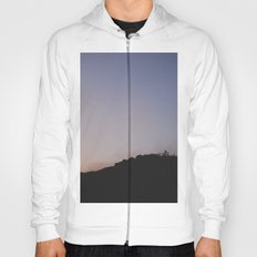 Male silhouetted on mountain top at sunset. Derbyshire, UK Hoody