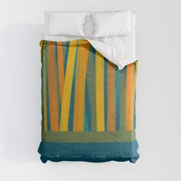 Ribbon Abstract Lined Cuff Pattern in Moroccan Blue, Green, Orange, Mustard, and Teal Comforters