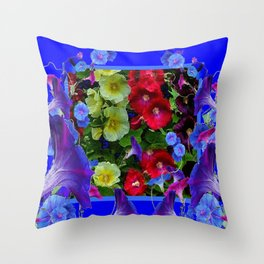 HOLLYHOCKS & MORNING GLORIES COTTAGE BLUE ART Throw Pillow