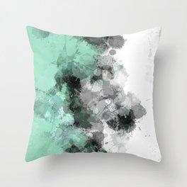 Mint Green Paint Splatter Abstract Throw Pillow