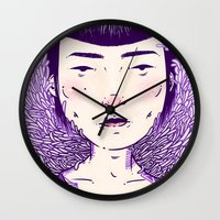 evil eye Wall Clocks featuring Evil Eye. by Skullflower