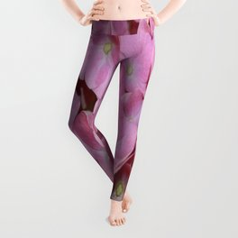 Pink Hydrangea Flowers Background Leggings