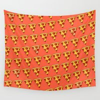 pizza Wall Tapestries featuring PIZZA by Kaitlin Smith