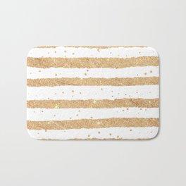 Elegant white faux gold glitter geometrical stripes Bath Mat