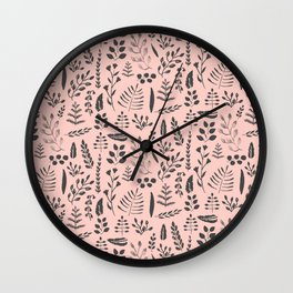 Pink and black leaves Wall Clock