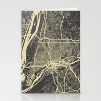 portland Stationery Cards featuring Portland map by Mondrian Maps