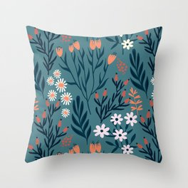 Beautiful Springtime Garden Daisy And Tulip Pattern Throw Pillow
