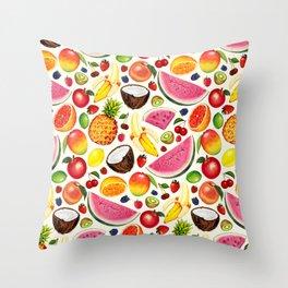 Fruit Pattern - White Throw Pillow