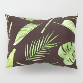 watercolor pattern tropical leaves Pillow Sham
