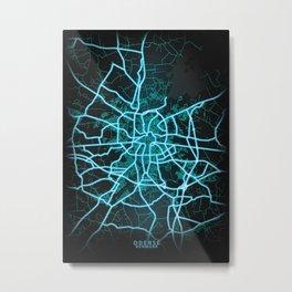 Odense, Denmark, Blue, White, Neon, Glow, City, Map Metal Print