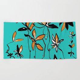 My Fun Orange Flowers Beach Towel
