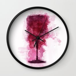 Wine Glass Watercolor Wall Clock