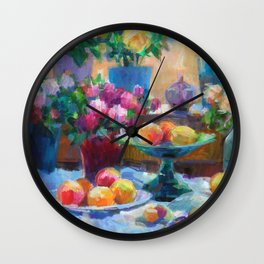 Still Life with Flowers and Fruits Wall Clock