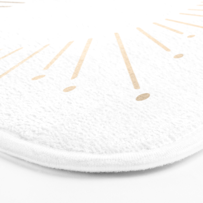 Simply Sunburst in White Gold Sands on White Bath Mat