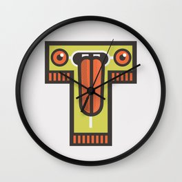 T for tongue Wall Clock