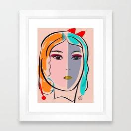 Pastel Pop Art Girl Portrait Minimalist Framed Art Print