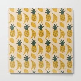 Yellow Fruits Pattern Metal Print