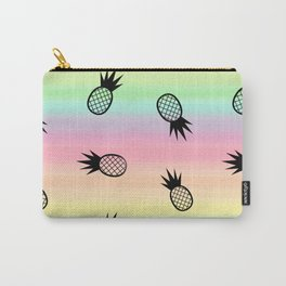 colorful rainbow watercolor pattern background illustration with pineapples Carry-All Pouch