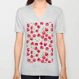 Watercolor cherries pattern  Unisex V-Neck