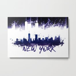Graphic Art NYC Skyline Splashes | purple Metal Print