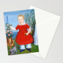 Child and Cat Painting, 1852 Stationery Cards
