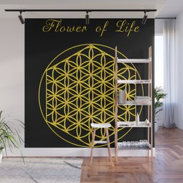 Flower of Life by TinyTini BlackBG Wall Mural