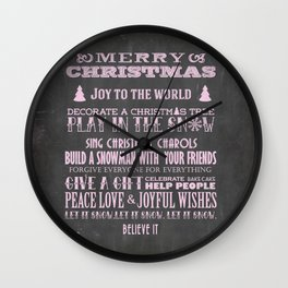 Pink Christmas Chalkboard Typography Quotes Wall Clock