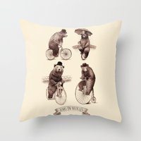bicycles Throw Pillows featuring Bears on Bicycles by Eric Fan