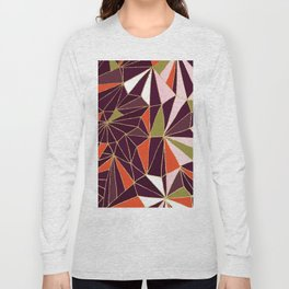 New Art Deco Geometric Pattern - Burgundi and Pink #deco #buyart Long Sleeve T-shirt