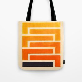 Orange & Black Geometric Pattern Tote Bag