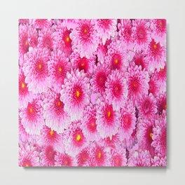 Decorative Pink Mums Colored Art Metal Print