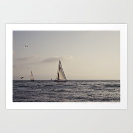 Golden Hour Sailboats Art Print