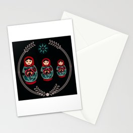 Russian Dolls // Folk Art // Red, Black and Teal  Stationery Cards