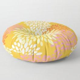 Abstract Flowers Print, Orange, Pink, Yellow Floor Pillow